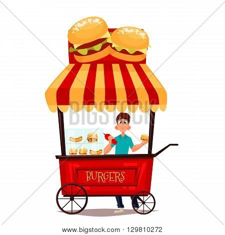Street selling burgers, vector cartoon comic illustration, mobile retro shop with burgers, selling fast food on the street, comic boy street vendor  hamburger