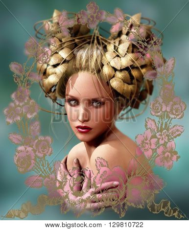 3d computer graphics of a portrait of a young woman with fantasy headdress