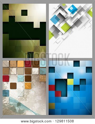 set of four designs, geometric squares polygon concept background material illustration. eps10 vector