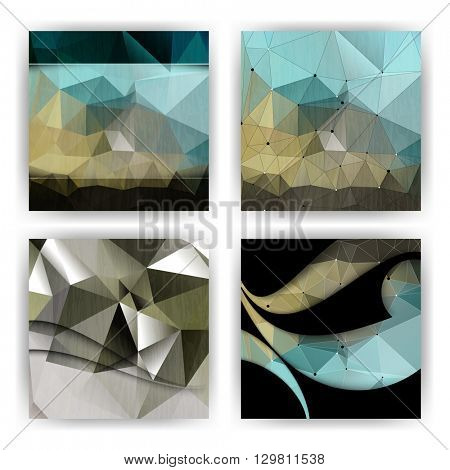 set of four designs, geometric triangular polygon concept background material illustration. eps10 vector