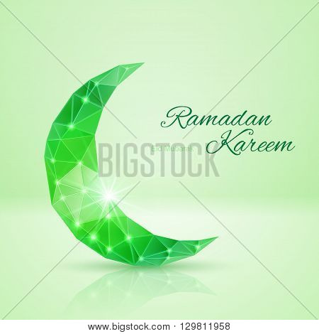 Ornate crescent Moon with bright flare and radiance in green shades. Greeting card of holy Muslim month Ramadan