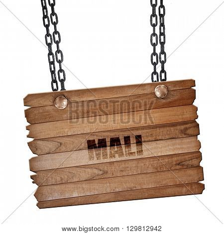 Mali, 3D rendering, wooden board on a grunge chain