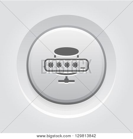 Database Protection Icon. Business Concept Grey Button Design