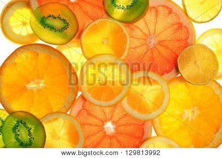 Fresh sliced citrus background