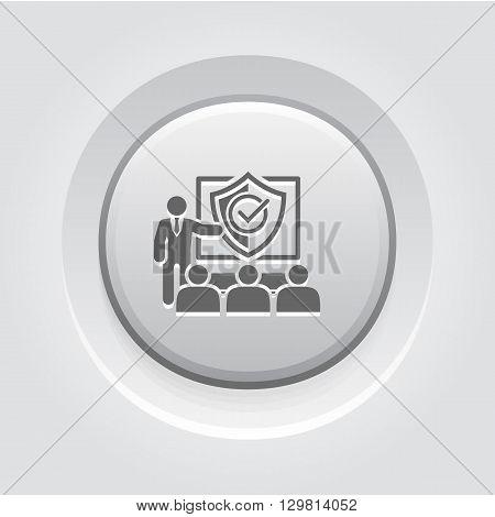 Security Briefing Icon. Business Concept Grey Button Design