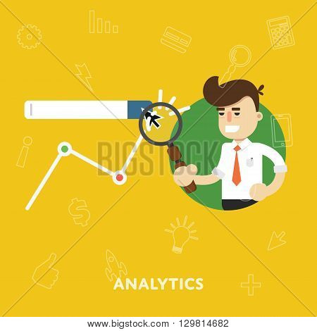Analysis business results of concept research of graphs flat abstract isolated vector illustration