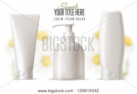 Cosmetic brand template.  Vector packaging. Body care products with a camomile on a background. Oil, lotion or soap, shampoo, cream. Realistic bottle mock up set. Isolated pack on white background.