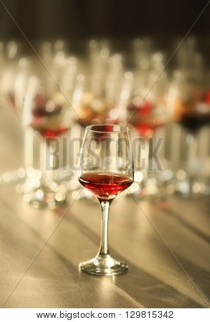Glass of red wine on a table, close up
