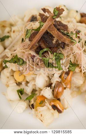 Traditional ecuadorian plate of pork hornado, elegant presentation on white plate, catering concept.