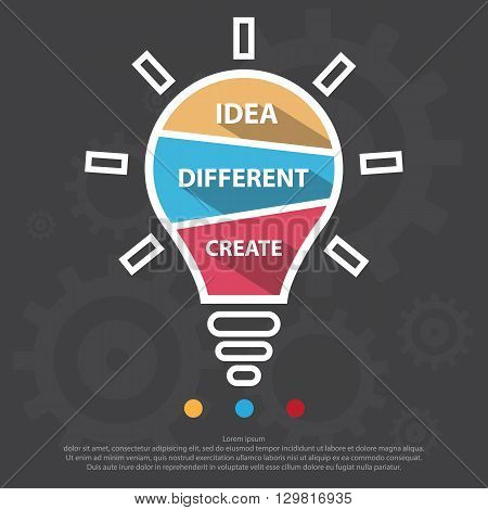 Step Design Of Three Part Light Bulb Infographic Element.vector/eps1 0