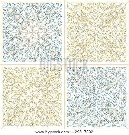Vector seamless pattern set with art ornament. Vintage elements for design in Victorian style. Ornamental lace tracery background. Ornate floral decor for wallpaper. Endless texture