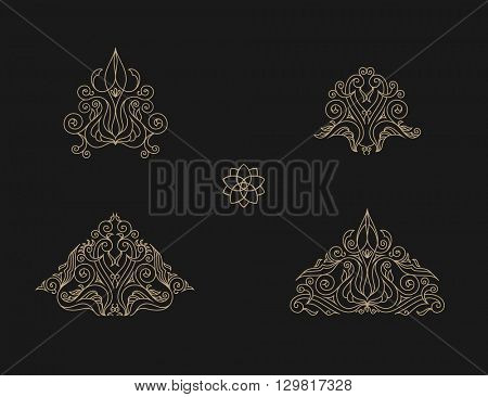 Arabic vector set of frames and lines of art design template. Muslim gold outline elements and emblems. Eastern floral frame. Logos line pattern for menu, postcard, restaurant, wedding invitation