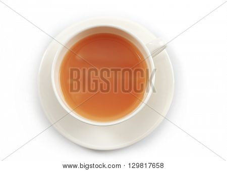 Tea with milk on white background.