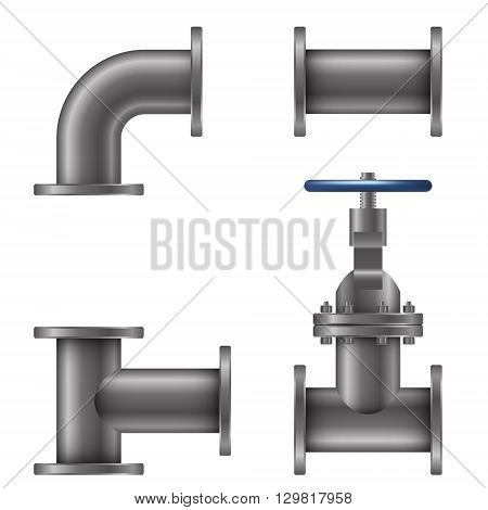 Pipes elements isolated on white background vector illustration