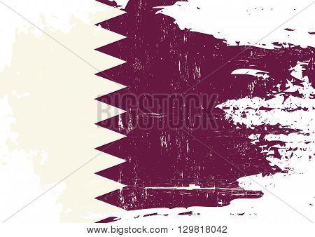 Qatar scratched Flag. A Qatari flag with a grunge texture