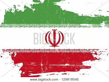 Iran scratched Flag. An Iranian scratched flag with a grunge texture