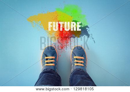 Child feet about to step into he future