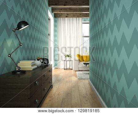 Interior of hallway with blue wallpaper 3D rendering