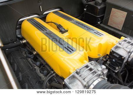 Yellow Lamborghini Engine