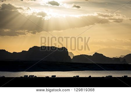 Camping out over the Lake Powell sunset near Page, Arizona.