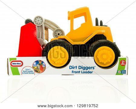 Winneconne WI - 15 May 2016: Package of a Little Tikes dirt diggers on an isolated background