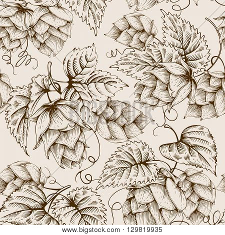 Vintage seamless pattern with hops and leaves. Hops hand drawn in artistic engraved style. Vector illustration.