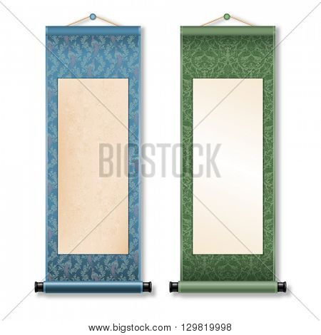 Two deployed ancient hanging scroll Shikishi isolated on white background. Floral patterns with birds on scroll. There is a place for your text, calligraphy or painting. Colored vector illustration.