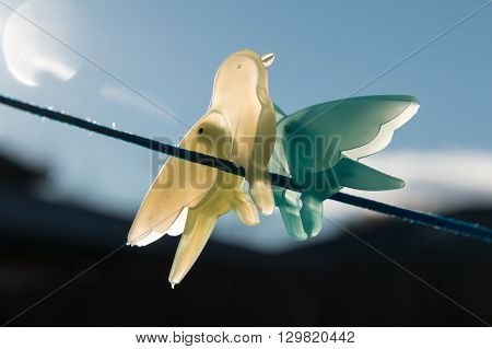 clothes peg birds on a wire with sun flare