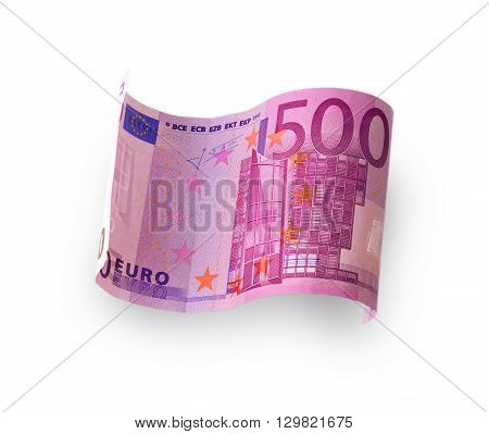 banknote in the 500 euro carved white background