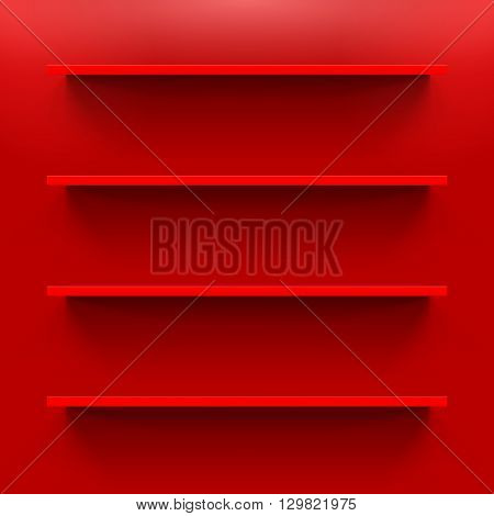 Four gorizontal bookshelves on the red wall
