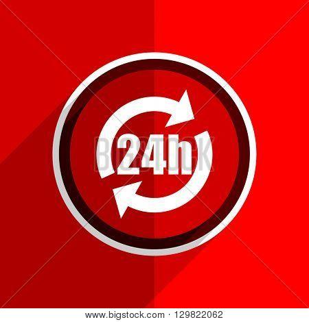 red flat design 24h web modern icon