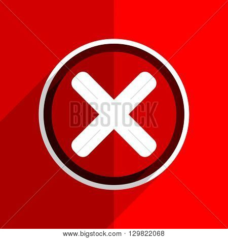 red flat design cancel web modern icon