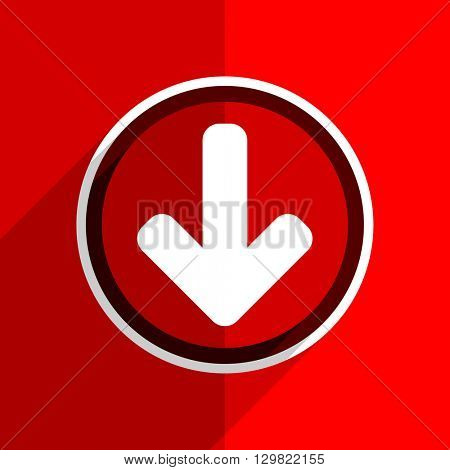 red flat design download arrow web modern icon