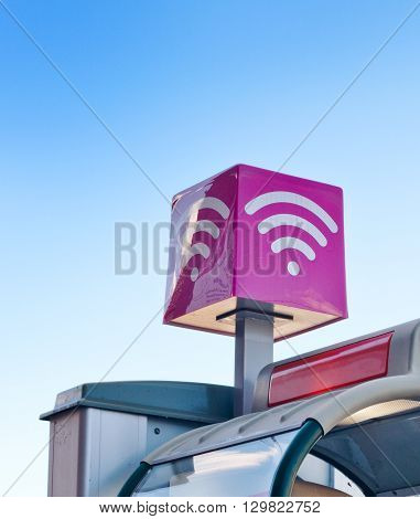 Pink wifi sign on plastic square box