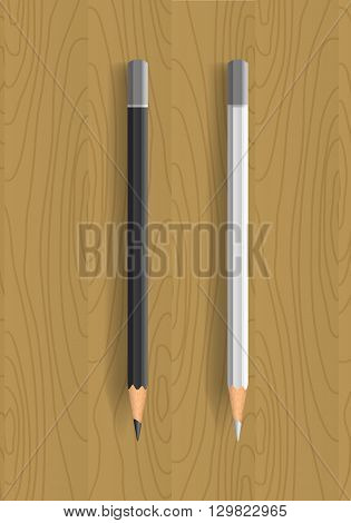 Two realistic pencils on wooden table. Black and white pencils. Vector illustration.