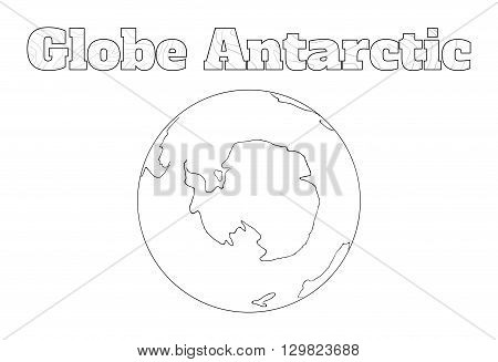 Hand-drawn globe of the world with view over the Antarctic isolated on white