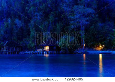 Beach On Bolilanga Island At Night