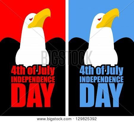 July 4Th Independence Day Of America. Set Opened With An Eagle. Birds Of Prey Usa National Symbol