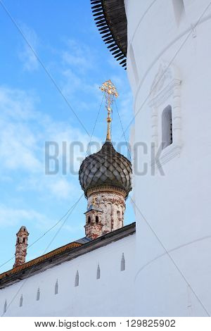 Old monastery belfry in Rostov city Russia
