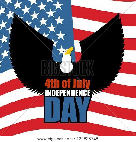 Independence Day Of America. Eagle And Usa Flag. National Patriotic American Holiday 4Th Of July. La