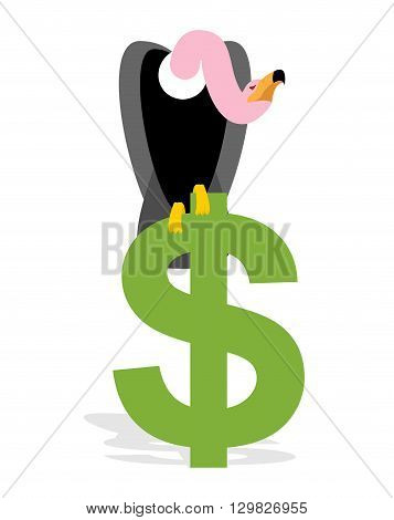 Vulture And Dollar. Condor, Griffon And Sign Of Money. Scavenger Birds Of Prey. Business Illustratio