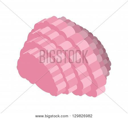 Brain Isometric Illustration. Central Organ Of Nervous System Of Person On White Background. Mind Is