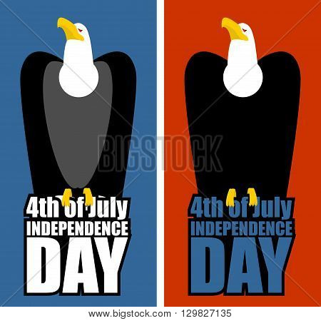 Usa Independence Day. Eagle And Lettering. Bird Of Prey Sitting On Letters. Patriotic Holiday On Jul