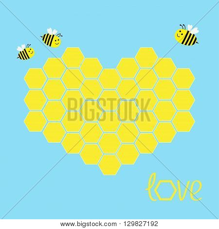 Yellow honeycomb set in shape of heart. Bee insect. Beehive element. Honey icon. Love greeting card. Isolated. Blue background. Flat design. Vector illustration