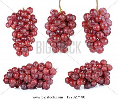 Red Grape Isolated On The White Background
