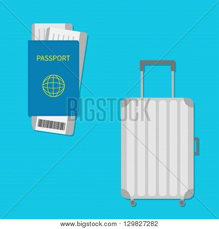 Passport air boarding pass ticket with barcode. Suitcase icon. Travel baggage. Luggage handbag. Summer vacation planning consept. Travelling tourism. Passenger case. Flat Isolated. Blue Vector