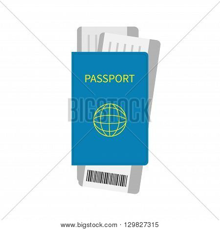 Passport and two air boarding pass ticket icon with barcode. Isolated. White background. Travel and Vacation consept. Flat design. Vector illustration