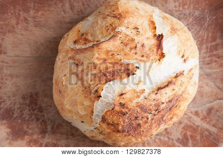 rosemary and garlic overnight bread hand made at home ina dutch oven