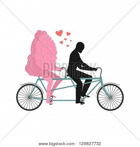 Brain On Tandem. Lovers Of Cycling. Man Rolls Mind On Bicycle. Joint Walk With A Central Organ Of Ne