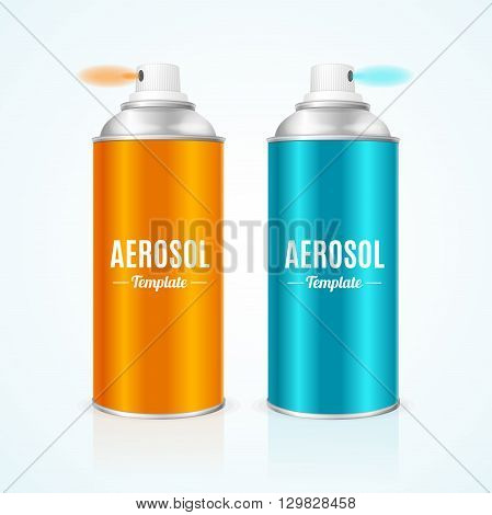 Aluminium Spray Can Template Blank with Inscription. Vector illustration